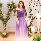 Chic / Beautiful Purple Gradient-Color Evening Dresses  2019 A-Line / Princess Off-The-Shoulder Short Sleeve Backless Floor-Length / Long Formal Dresses