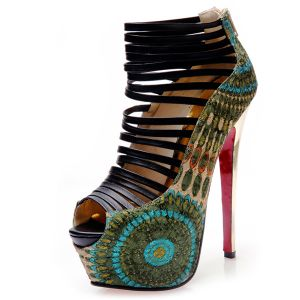 2016 La Mode Peep Toe Plateforme Aiguille Paon De Super Talons Hauts Sandales