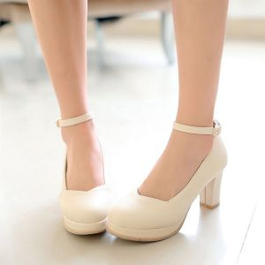 Classic Pumps Thick Heel Ankle Strap Womens Shoes