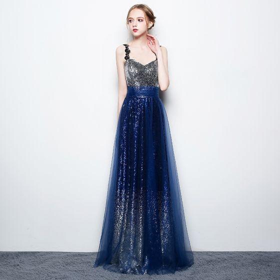 Błyszczące Gwiaździste Niebo Srebrny Królewski Niebieski Cekiny Sukienki Wieczorowe 2017 Princessa Spaghetti Pasy Bez Rękawów Długie Bez Pleców Sukienki Wizytowe