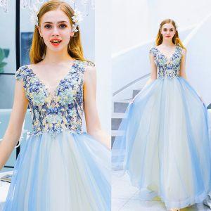 Modern / Fashion Sky Blue Evening Dresses  2019 A-Line / Princess V-Neck Beading Pearl Rhinestone Lace Flower Sleeveless Backless Sweep Train Formal Dresses