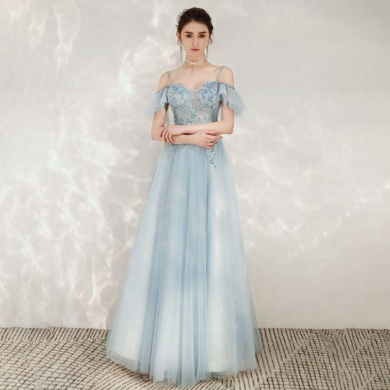 Chic / Belle Bleu Ciel Robe De Soirée 2020 Princesse Bretelles Spaghetti De l'épaule Manches Courtes Perlage Longue Volants Dos Nu Robe De Ceremonie