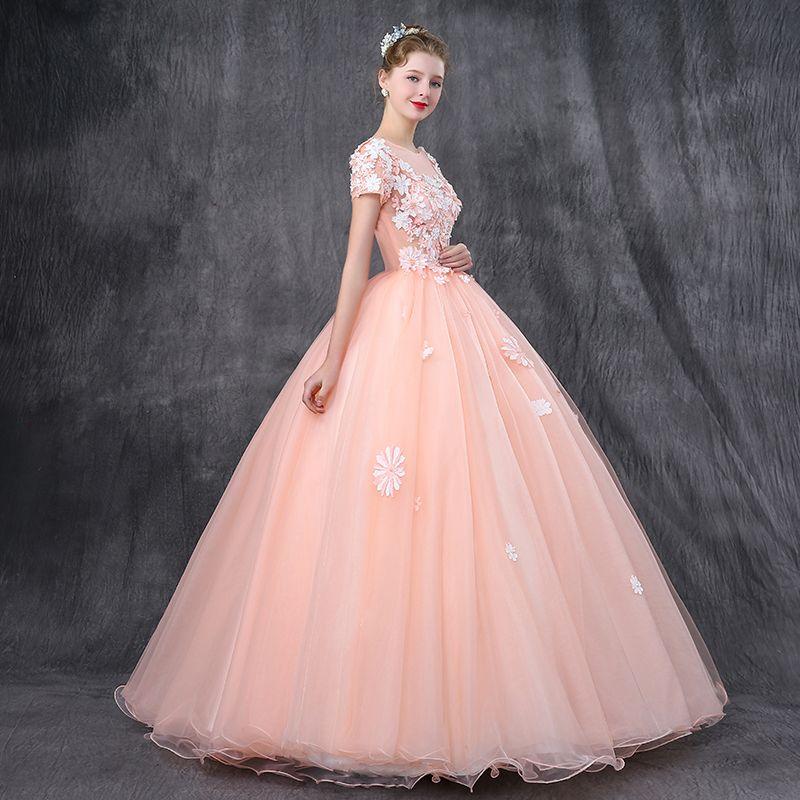 Romantisch Parel Roze Galajurken 2019 A lijn Ronde Hals Korte Mouwen Appliques Bloem Parel Kralen Lange Ruche Ruglooze Gelegenheid Jurken