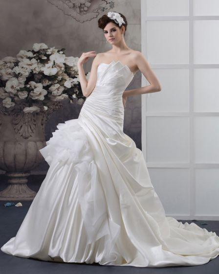 Fegen Gefalteter Taft Trägerlosen A-linie Hochzeitskleid