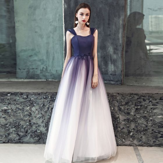 Modest / Simple Purple Gradient-Color White Prom Dresses 2019 A-Line / Princess Shoulders Sleeveless Beading Floor-Length / Long Ruffle Backless Formal Dresses
