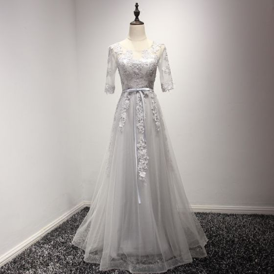 Elegant Grey Evening Dresses  2017 A-Line / Princess Floor-Length / Long Cascading Ruffles Scoop Neck 1/2 Sleeves Backless Lace Appliques Sash Pierced Formal Dresses