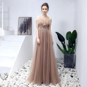 Elegant Prom Dresses 2019 A-Line / Princess Scoop Neck Beading Sequins Lace Flower Short Sleeve Backless Floor-Length / Long Formal Dresses