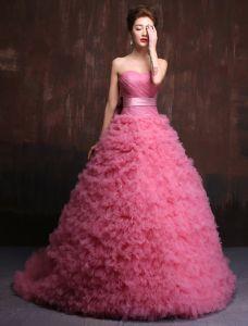 Élégante Robe De Bal 2016 Chérie Plissée Robe De Gala Tulle Rose Avec Ceinture