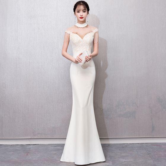 style-chinois-champagne-transparentes-robe-de-soiree-2018 -trompette-sirene-col-haut-sans-manches-appliques-en-dentelle-perlage-gland- longue-robe-de- ... 553549477c5
