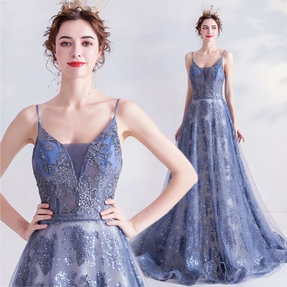 Sparkly Ocean Blue Glitter Evening Dresses  2020 A-Line / Princess Spaghetti Straps Sequins Sleeveless Backless Sweep Train Formal Dresses