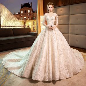 Luxury / Gorgeous Champagne Wedding Dresses 2019 A-Line / Princess Scoop Neck Lace Flower Appliques 3/4 Sleeve Backless Glitter Tulle Royal Train