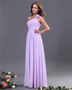 Elegante A-lijn Een Schouder Chiffon Vloerlengte Bruidsmeisjes Jurken