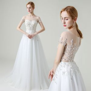 Illusion White Outdoor / Garden See-through Wedding Dresses 2020 A-Line / Princess Scoop Neck Short Sleeve Beading Sequins Sweep Train Ruffle