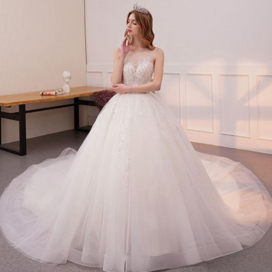 Bling Bling Ivory See-through Wedding Dresses 2019 A-Line / Princess Scoop Neck Sleeveless Backless Glitter Sequins Cathedral Train Ruffle