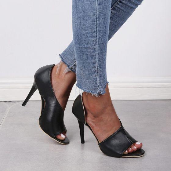 Affordable Black Casual Womens Sandals 2020 8 cm Stiletto Heels Open / Peep Toe Sandals