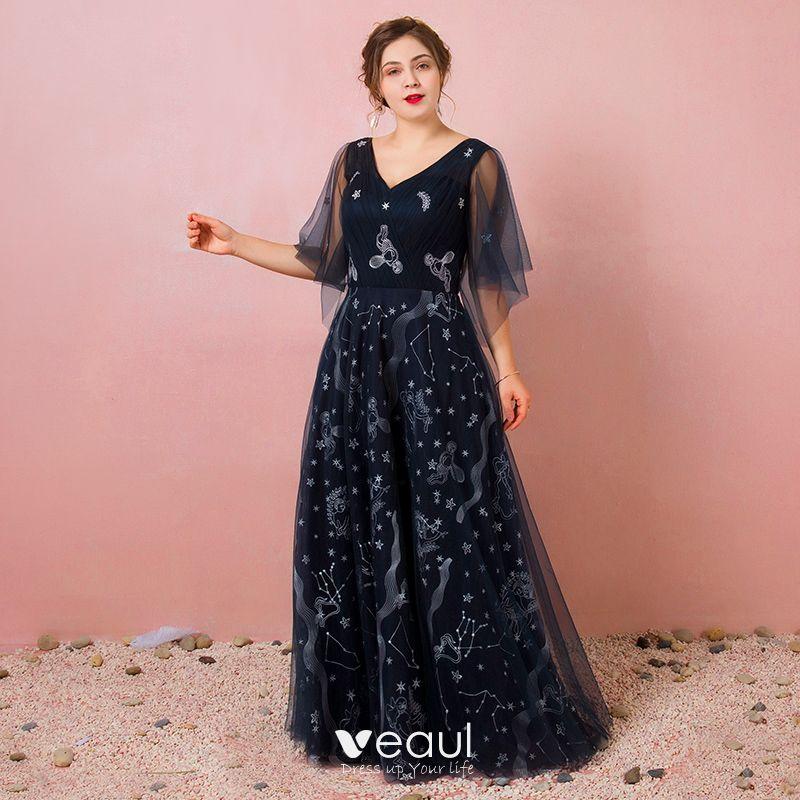 93c9b1d5f4 Bling Bling Granatowe Sukienki Wieczorowe 2018 Tiulowe Bez Pleców Druk  Wiosna Wieczorowe Sukienki Wizytowe