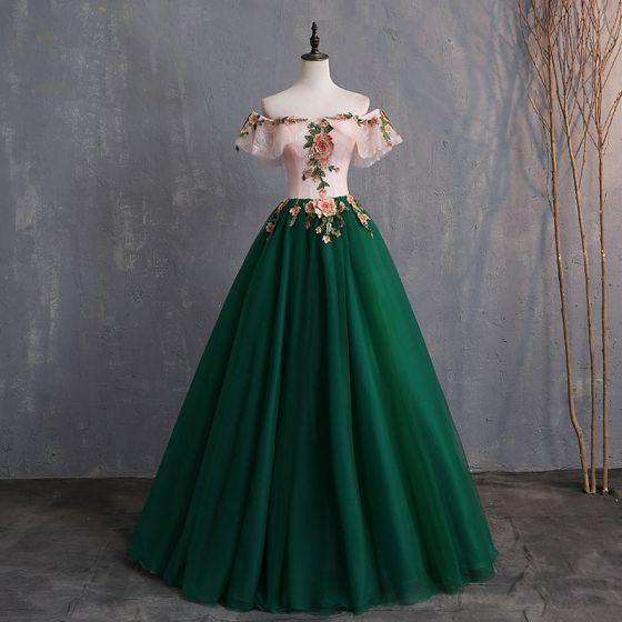 Vintage / Retro Dark Green Prom Dresses 2019 Ball Gown Appliques Lace Off-The-Shoulder Short Sleeve Backless Floor-Length / Long Formal Dresses