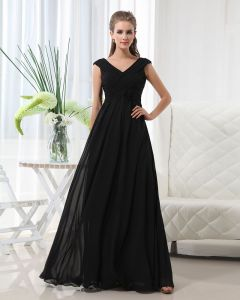 Floor Length V-Neck Chiffon Bridesmaid Dress