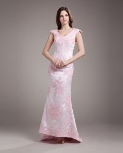 V Neck Applique Beading Floor Length Satin Sheath Wedding Dress