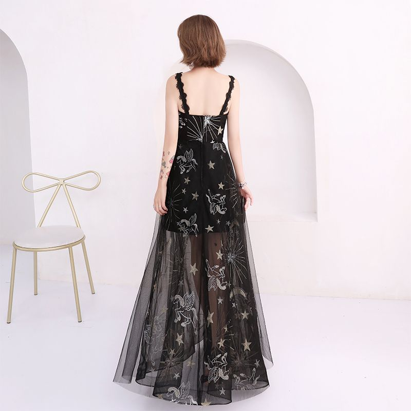 Affordable Summer Black Evening Dresses  With Shawl 2018 Empire Shoulders Sleeveless Embroidered Floor-Length / Long Ruffle Backless Formal Dresses