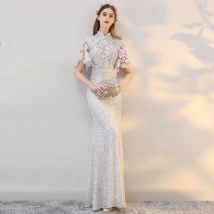Style Chinois Plage Robe De Mariée 2017 Blanche Trompette / Sirène Longue Perle Col Haut Manches Courtes Paillettes En Dentelle Appliques