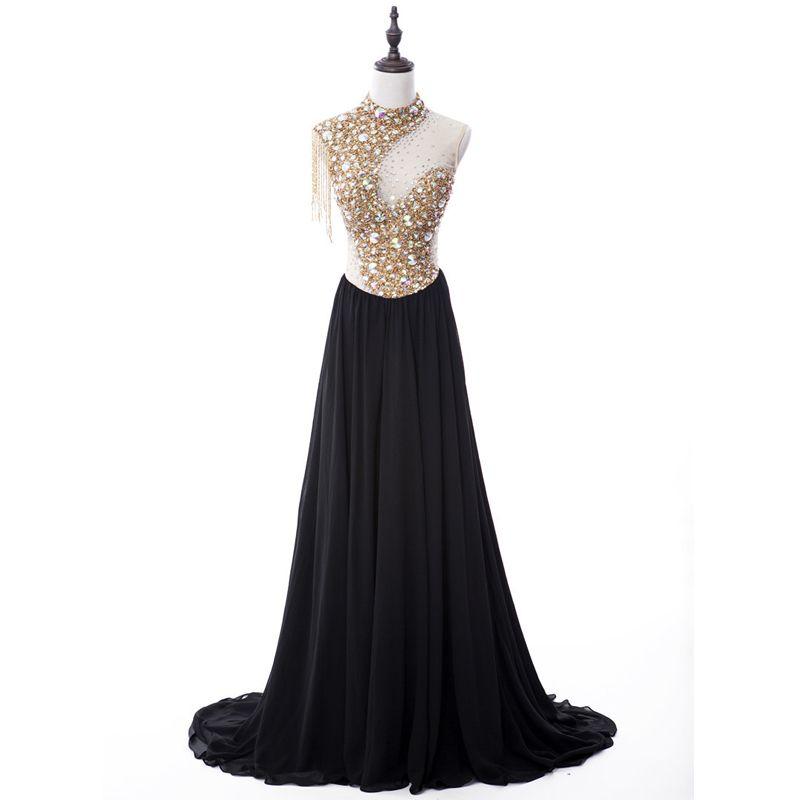 Sparkly Evening Dresses  2017 Sleeveless Beading Crystal Sequins Chiffon Rhinestone Tassel Formal Dresses Sweep Train
