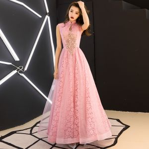 Chinese style Candy Pink Evening Dresses  2019 A-Line / Princess High Neck Appliques Beading Sleeveless Backless Lace Floor-Length / Long Formal Dresses