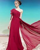 Einen Schulter Einer Seite Kurz Hauchhülse Rüsche rückenfrei Fußbodenlänge Charmeuse Frau Abendkleid