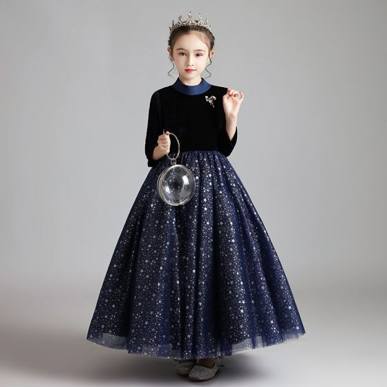 Starry Sky Navy Blue Suede Winter Birthday Flower Girl Dresses 2020 Ball Gown High Neck 3/4 Sleeve Beading Glitter Star Floor-Length / Long Ruffle