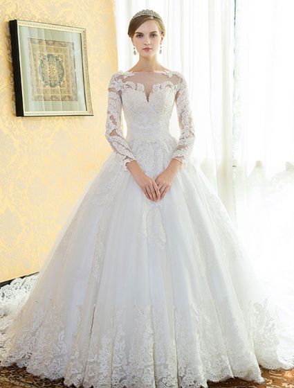 Glamorous Bridal Gown 2017 Square Neckline Applique Lace Wedding Dress With Long Sleeves