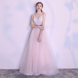 Elegante Rosa Abendkleider 2018 A Linie Geflecktes Stoffgürtel Spaghettiträger Rückenfreies Ärmellos Lange Festliche Kleider
