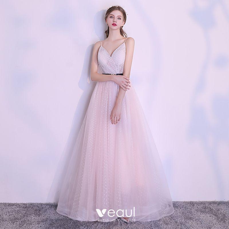 Elegante Rosa Abendkleider 2018 A Linie Geflecktes ...