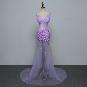 Sexy Lilac See-through Evening Dresses  2019 Trumpet / Mermaid V-Neck Appliques Sleeveless Backless Sweep Train Formal Dresses