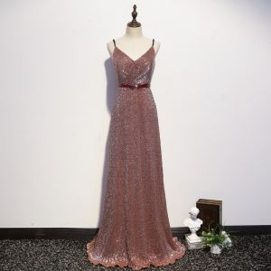 Sexy Sparkly Rose Gold Evening Dresses  2020 A-Line / Princess Spaghetti Straps Sequins Bow Sleeveless Backless Floor-Length / Long Formal Dresses