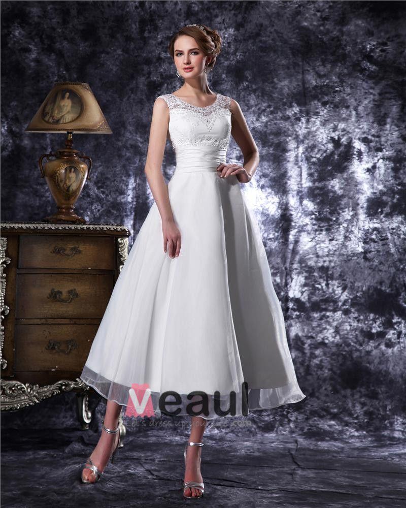 Round Neck Beading Tea Length Organza Mini Wedding Dress