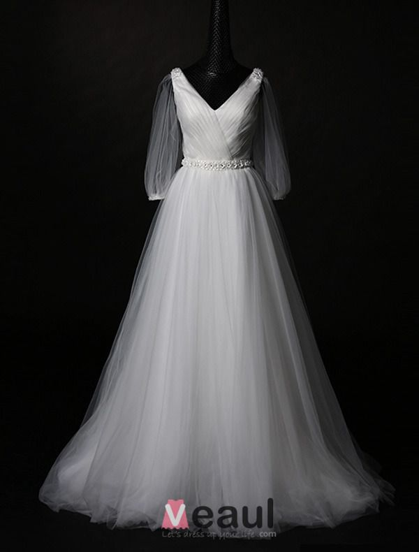 2015 A-line V-neck Princess Sleeves Tulle Wedding Dress