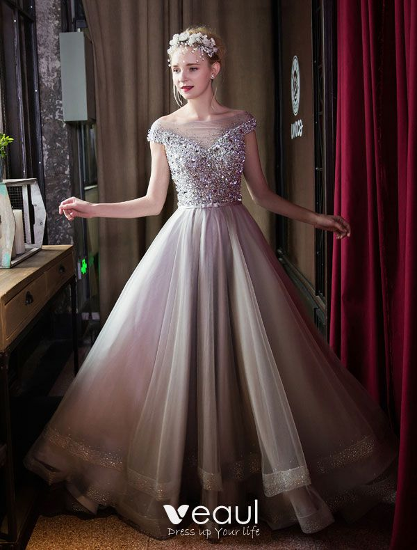 69c19b15fb Moda Długie Sukienki Na Bal Szara Sukienki Wizytowe Zroszony Kryształ