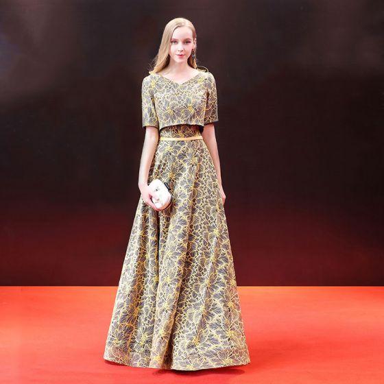 Chic / Beautiful 2 Piece Evening Dresses  2018 A-Line / Princess Sash Lace Scoop Neck Backless Short Sleeve Floor-Length / Long Formal Dresses