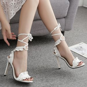 Chic / Beautiful Ivory Casual Womens Sandals 2020 Ankle Strap 11 cm Stiletto Heels Open / Peep Toe Sandals