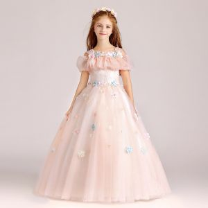 Chic / Beautiful Pearl Pink Flower Girl Dresses 2017 Ball Gown Square Neckline Strapless Short Sleeve Appliques Flower Floor-Length / Long Ruffle Wedding Party Dresses