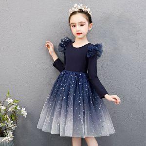 Asequible Marino Oscuro Cumpleaños Vestidos para niñas 2020 Ball Gown Scoop Escote Manga Larga Estrella Lentejuelas Por La Rodilla Ruffle
