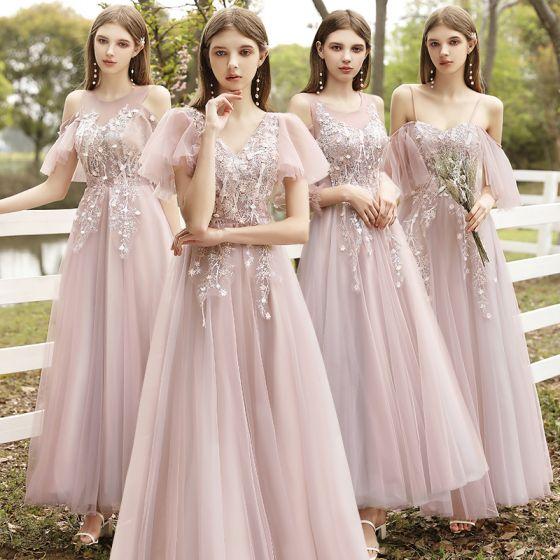 Moda Rumieniąc Różowy Sukienki Dla Druhen 2021 Princessa Wycięciem Z Koronki Kwiat Aplikacje Kótkie Rękawy Bez Pleców Długie Sukienki Na Wesele