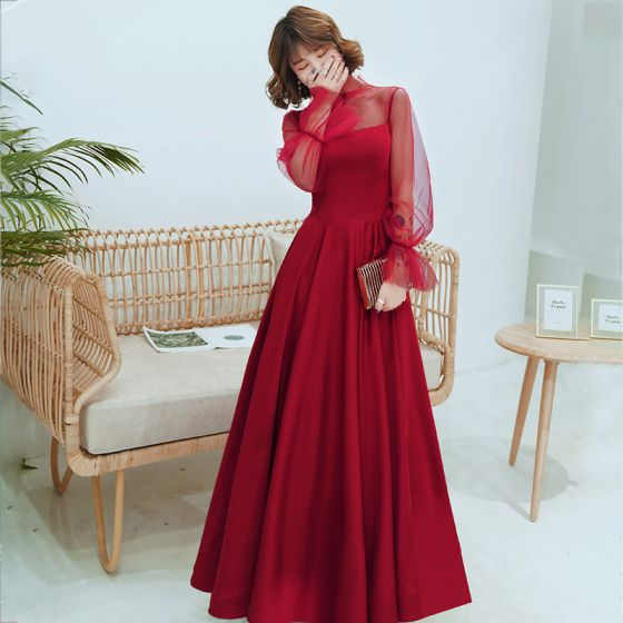 Victorian Style Burgundy See-through Evening Dresses  2020 A-Line / Princess High Neck Puffy Long Sleeve Floor-Length / Long Ruffle Backless Formal Dresses