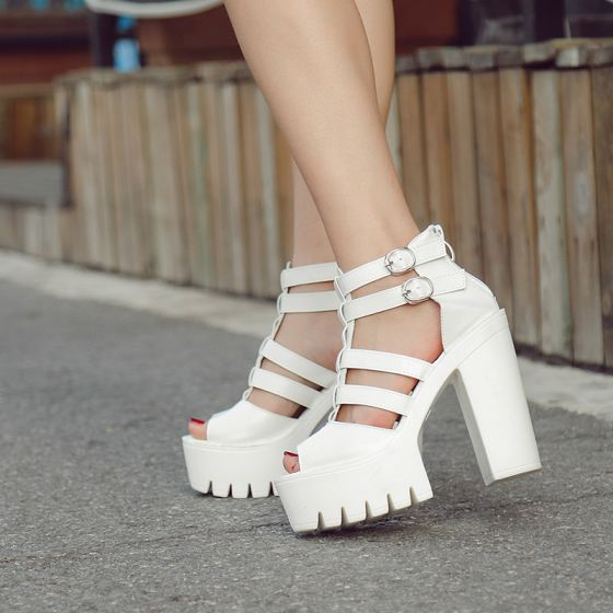 977f457476 Romano Vintage Blanco Casual Zapatos De Mujer 2018 Cuero Hebilla Plataforma  15 cm Talones Gruesos Peep ...