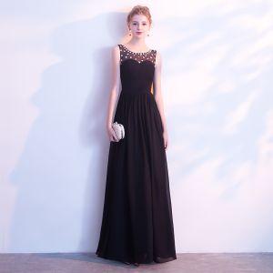 Elegant Black Evening Dresses  2017 A-Line / Princess Artificial Flowers Scoop Neck Backless Ankle Length Sleeveless Formal Dresses