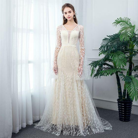 Elegant Champagne See-through Beach Wedding Dresses 2020 A-Line / Princess Deep V-Neck Bell sleeves Glitter Tulle Sweep Train Ruffle