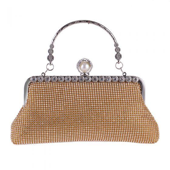 Chic / Beautiful Gold Glitter Rhinestone Metal Clutch Bags 2018