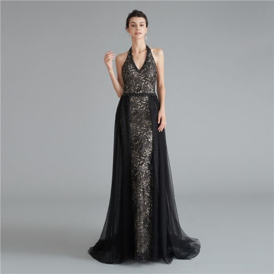 Fashion Black Evening Dresses  2020 A-Line / Princess Halter Sleeveless Appliques Lace Ruffle Beading Sequins Sweep Train Backless Formal Dresses
