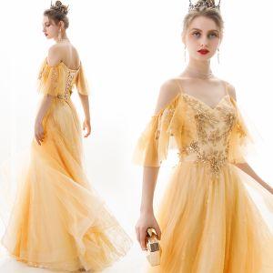 Schöne Gold Abendkleider 2019 A Linie Spaghettiträger Pailletten Spitze Blumen Kurze Ärmel Rückenfreies Lange Festliche Kleider