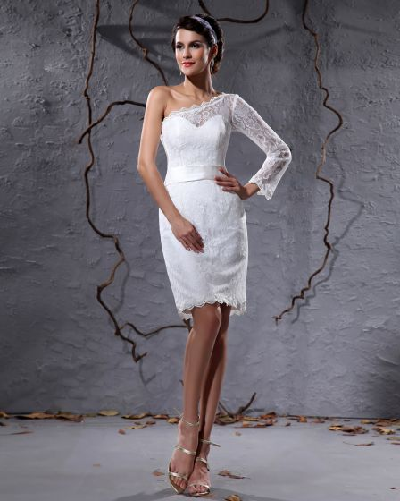 Elegant Lace Satin Sloping One Sleeve Knee Length Short Mini Wedding Dress